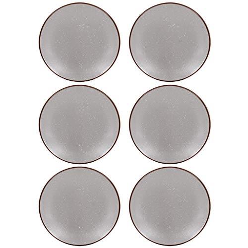6 Piece Dinner Set Grey Alfresco Dining Crockery Plate Set