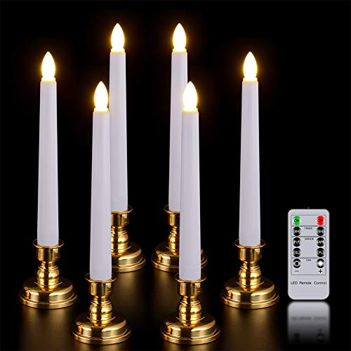 Window Candles with Remote Timer, PChero 6 Packs Battery Operated Warm White LED Flameless Taper Candlesticks with Golden Removable Candle Holders, Ideal for Wedding Christmas Table Decor