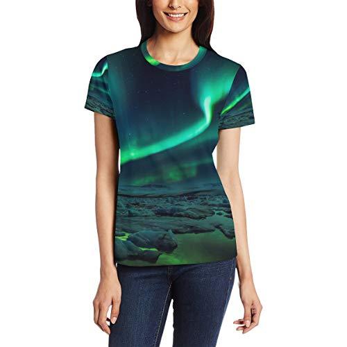 Aurora Coast Green - Camiseta de manga corta para mujer, cuello redondo, cómoda Bm002 XXL