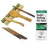 Exzact EX-SR08 Kit Avvolgibile per Sushi in bambù Set 8 pz. - 2 x Mats, 1 Paletta Riso, 1 Spargiriso, 4 Coppie di Bacchette – Tutto Naturale, Stile Orientale