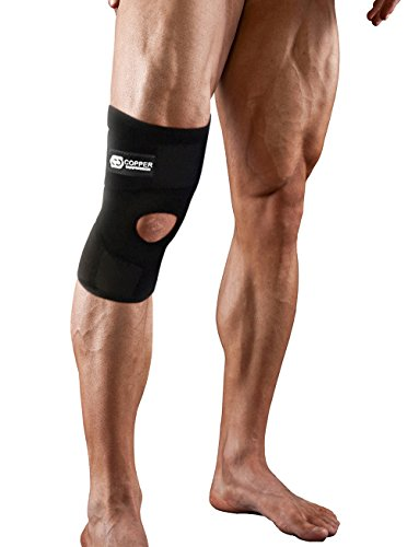 Copper Compression Extra Support Knee Brace. Highest Copper Content Guaranteed. Best Adjustable Copper Knee Brace. Open Patella Stabilizer Neoprene Sleeve for Sprains, Injury. Fit for Men and Women