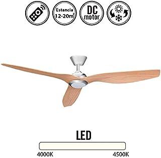 Ventilador de techo con luz Led DELFOS niquel/haya