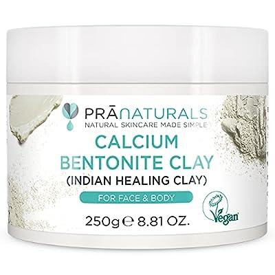 PraNaturals Bentonite Clay Mask, Natural Deep Skin Pore Cleansing Montmorillonite Calcium Active Pure Clay Mask Powder, Detox Anti-Ageing and Healing Facial Beauty Mask (250g Pot) from Pranaturals