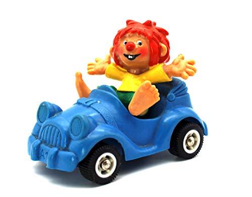 Pumuckl Kunststoff Figur in blauem Auto mit schwarzen Rädern von Bullyland