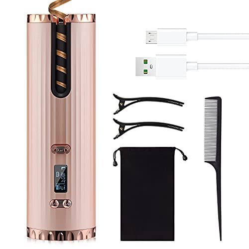 Wirhaut Rizador de Pelo Automático Inalámbrico, Rizador de Cerámica Profesional , Calentamiento Rápido, con Pantalla LCD y Temporizador Ajustable, Recargable USB, para Cabello Largo y Corto