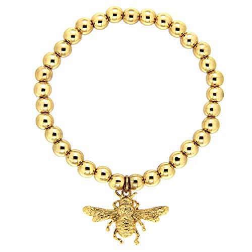 Sweet Deluxe Stretcharmband Bee, Gold I Armschmuck für Damen & Mädchen   flexibel - Girl Armreif   Geschenk-Idee Geburtstag   Bangle Frauen Armkettchen Unisex verstellbar