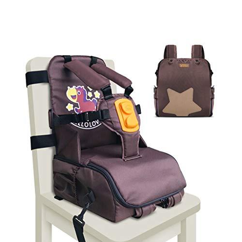 CAO-LIFE Sicherheitsgurt Esszimmerstuhl Hochstuhl Mummy Umhängetasche (6-36 Monate), Faltbare Große Kapazität Wickeltasche Baby Outdoor Aufbewahrungstasche 29 * 14 * 25cm (Farbe : Braun)