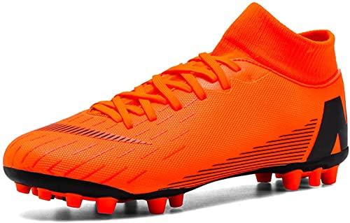 Botas de fútbol Junior Adultos FG Entrenadores de Fútbol Profesión Atletismo Adolescente Interior Exterior Zapatos de Fútbol para Niños Hombres, Elige una Talla Más Grande, Orange, 42 2/3 EU
