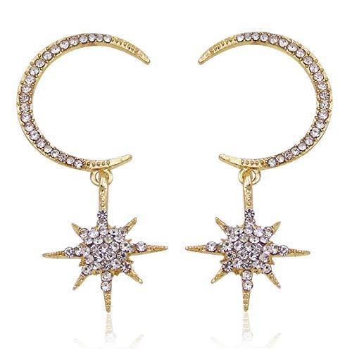 YZYZ Pendientes de estrella con diseño de luna de ocho puntas, gran círculo, pendientes de estrella de media luna para mujeres