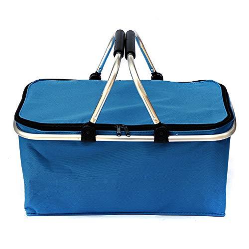 FeiKe 30L Picnic Plegable Cesta de Campamento Canasta Aislada Compras Refrigerador Home Camping Almacenamiento Cesta Organización de Almacenamiento en casa,Azul