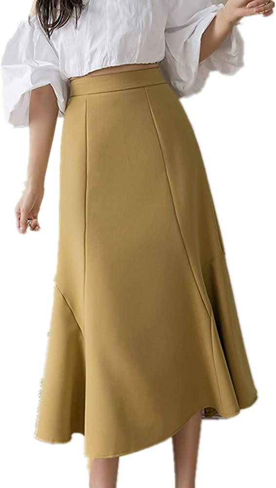 NP Medium Length A-line Skirt Spring Summer high Waist Skirt Irregular Knee Length Skirt Fishtail Skirt