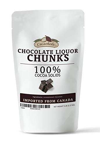 Cacaoholic Chocolate Liquor Chunks   Unsweetened Chocolate Chunks   Cocoa Mass Chunks   100% Cocoa   Resealable Stand Up Pouch   5 lb