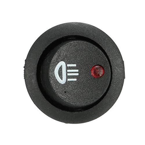 IENPAJNEPQN Interruptor de 12V 20A LED Iluminado luz de Niebla Ronda de balancín SPST On/Off Dash Luz for Coche Van (Color : Red)