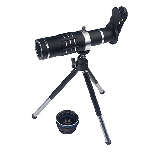 Smart Phone Camera Lens 18X Telephoto Lens Optical Manual Zoom Telescope Lens with Tripod and Clamp Clip-on Cell Phone for iPhone Samsung HTC Most Mobile Phones (Black)