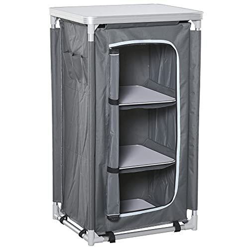 Outsunny Campingschrank faltbar Küchenbox tragbar mit Tragetasche 3 Ablagen 600D Oxford Stoff Grau 60 x 50 x 104,5 cm