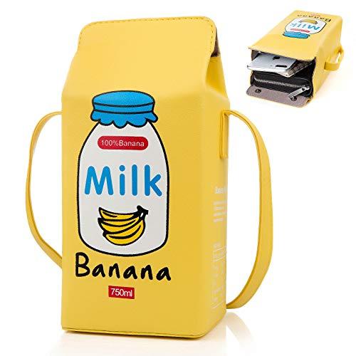 XiYee Mini Bolso de Hombro Bolsa, 1 Pcs Niñas Frutas Plátano Fresa Leche Caja Cruzado Cuerpo Bolso, Mujer Teléfono Cartera Mini Bolsos de Hombro Rosado (plátano)