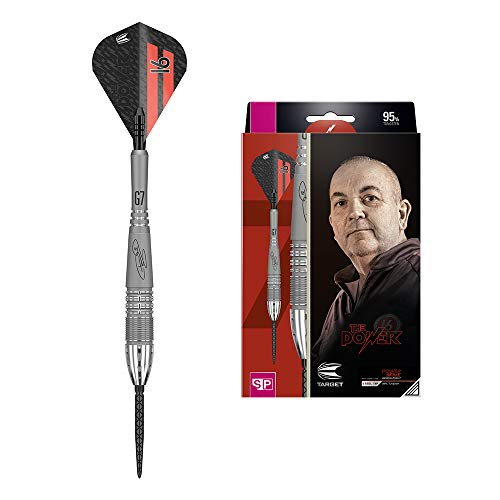 Target Darts Phil Taylor Power 9-Five Gen 7 24G 95% Tungsten Swiss Point Steel Tip Darts Set Wolfram Dartpfeile, Grau, Schwarz und Rot, 24 g