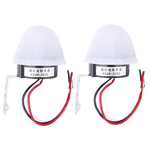 Interruptor del Sensor de Luz de la Fotocélula, 2 Piezas Encendido Automático Apagado Interruptor del Sensor de Luz del Conmutador Fotográfico de Luz de Calle(220V)