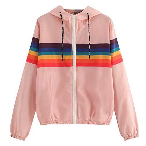 Longra Damen Sweatshirt Streifen Patchwork Kapuzenpullover Mantel-Bluse Langarmshirt Elegant Oberteil Hoodie
