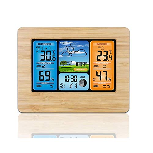 LJXLXY Temperatur/Feuchte/Barometer/Barometer/Wecker/Meteorological Clock-Farbbildschirm Wettervorhersage Uhr Funkwellenuhr Multifunktions Wecker RF Wireless Weather Clock Perpetual Calendar