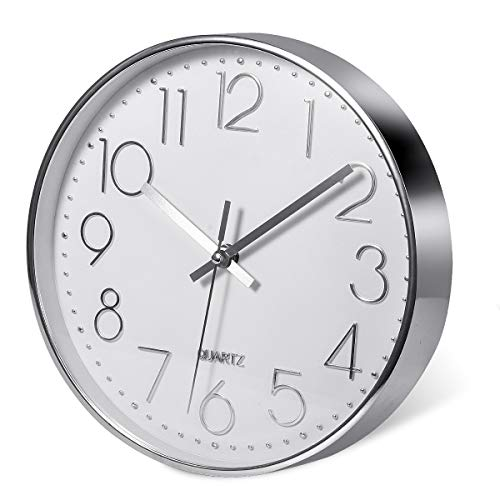 Delgeo Orologio da Parete in Argento Premium,Decorazione da Parete,Moderno Orologio da Parete Silenzioso per Casa Ufficio Cucina (25cm, Argento)