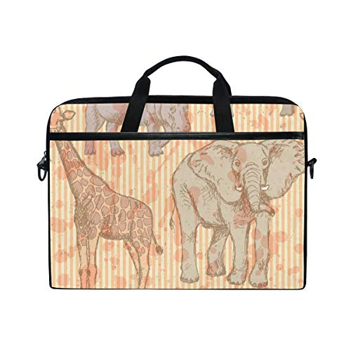 EZIOLY Sketch Elephant Rhino Giraffe And Hippo Laptop Shoulder Messenger Bag Case Sleeve for 13 Inch to 14 inch Laptop