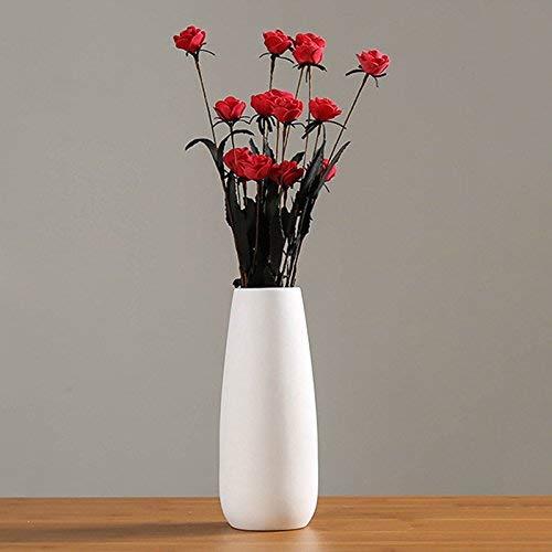 Jarrones de Cerámica Blanco Jarrones Floreros Decorativos Modernos Flores Plantas Porcelana Decoración para Hogar Sala de Estar Oficina y Regalo de Bodas (a1)