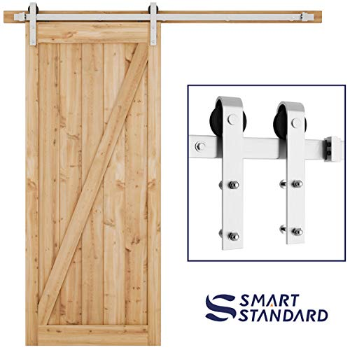 SMARTSTANDARD 6.6FT Heavy Duty Sliding Barn Door Hardware Kit, Single Rail, Stainless Steel, Super Smoothly and Quietly, Simple and Easy to Install, Fit 36'-40' Wide DoorPanel (J Shape Hanger)
