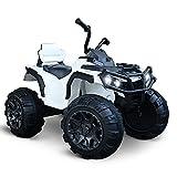 HOMCOM Voiture 4x4 Quad Buggy électrique Enfant 3 à 8 Ans Effets Lumineux Musique Lecteur MP3 Multifonction Blanc