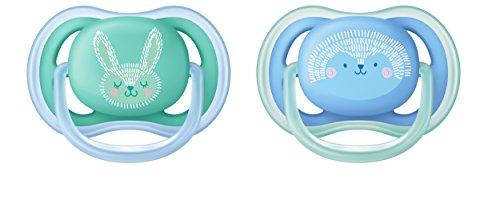 Philips Avent ultra air Schnuller 6-18 Monate SCF344/22, Doppelpack, Jungen, Hase/Igel