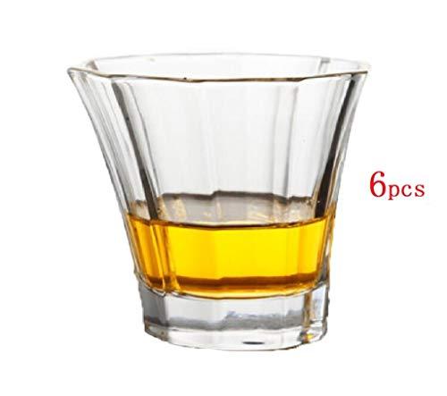 YYCDD Wijnglazen set voor bruiloft - 6-delige set, Loodvrije kristallen glazen kop, Whiskey cup Huishoudelijke wijnglas Biermok (250ml)
