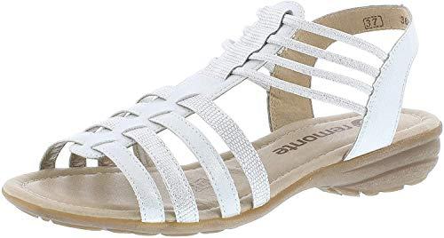 Remonte R3630 Damen Riemchensandale,Römer-Sandale,Sandalette,Gladiatoren-Sandale,Sommerschuh,ice/weiss-silber/90,42 EU / 8 UK