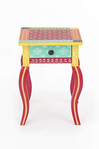 INDEX LIVING Beistelltisch India Akazie massiv Handarbeit Tisch Nachttisch Nachtschrank bunt