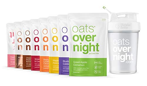 Oats Overnight - Party Pack Variety (8 Pack PLUS BlenderBottle ) High Protein, Low Sugar Breakfast - Gluten Free, Non GMO Oatmeal (2.7oz per pack)