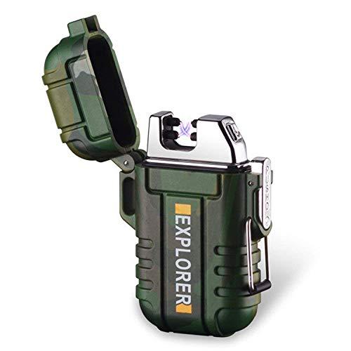 ENW Wasserdichtes USB Elektronisches Feuerzeug, Zigarettenfeuerzeug mit Kreuz Doppel Lichtbogen (Schwarz)