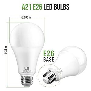 LE 100 Watt Equivalent A21 LED Light Bulbs, 13W LED Bulbs, Super Bright 1200 Lumens 5000K Daylight White, 200 degree Beam Angle , Non-Dimmable E26 Medium Base Bulbs, Pack of 8