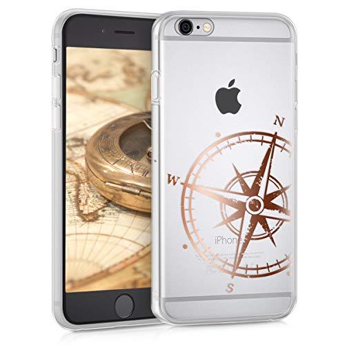kwmobile Hülle kompatibel mit Apple iPhone 6 / 6S - Handyhülle - Handy Case Kompass Vintage Rosegold Transparent