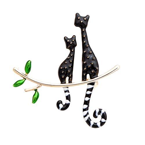 HUNANA Terug Van Twee Katten Broches Voor Vrouwen Fancy Stijl Pins Fending Sieraden Accessoire Goede Implied Betekenis Geschenken