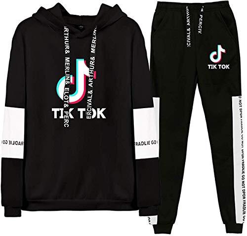Mujeres Hombre TIK TOK 2 Piezas Conjunto de Chándal Casual Conjuntos Deportivos Manga Larga Sweatshirt Sudadera con Capucha y Pantalones Jogging Traje de Deporte