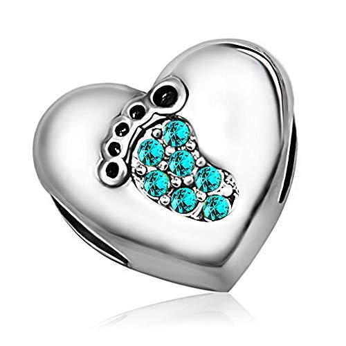 KunBead Heart Charms Baby Footprint Heart December For Bracelets Christmas