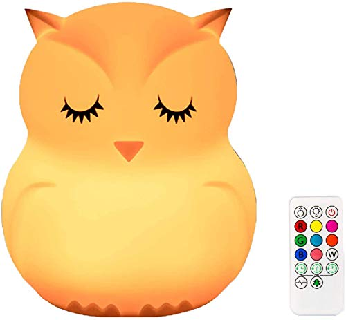 Sunsbell Sunsbell Owl Night Light, LED Lámpara de silicona para niños Luz que cambia de color Sensor táctil recargable portátil Control remoto para regalo/dormitorio para niños