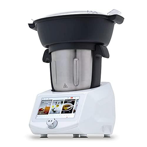 NEWCOOK - Robot de Cocina Multifunción ROBOTMIX RM990 con Wifi, 1400W, 3L, 12 Velocidades + Turbo, 8 Accesorios, 8 Programas, 28 Funciones, Temperatura 37-130ºC. Incluye Vaporera y Recetas Guiadas