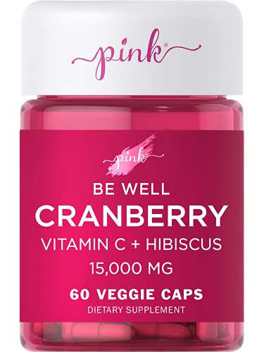 Pink Cranberry Pills for Women   60 Veggie Capsules   Plus Vitamin C   Vegan, Non-GMO & Gluten Free Extract Supplement