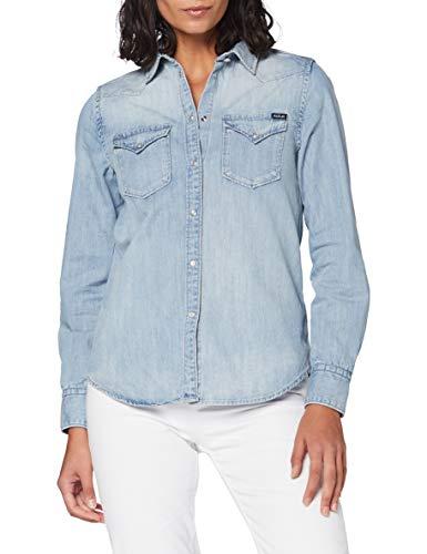 Replay Damen W2001 .000.26C 756 Bluse, 010 Light Blue, S