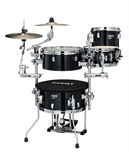 TAMA Cocktail JAM Mini Kit 4 pezzi – Hairline Black/Chrome Hardware/con Cymbal Holder Set + Borsa (CJP44C-HBK)