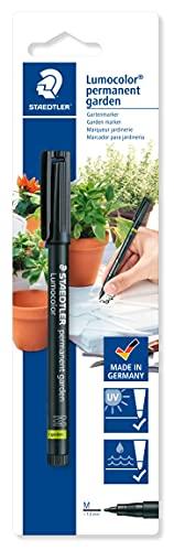 Staedtler Lumocolor Garden, Feutre indélébile noir spécial jardin et extérieur, Résistant aux UV et à l'eau, Pointe moyenne de 1 mm, Sous étui blister, 319 GM M-9
