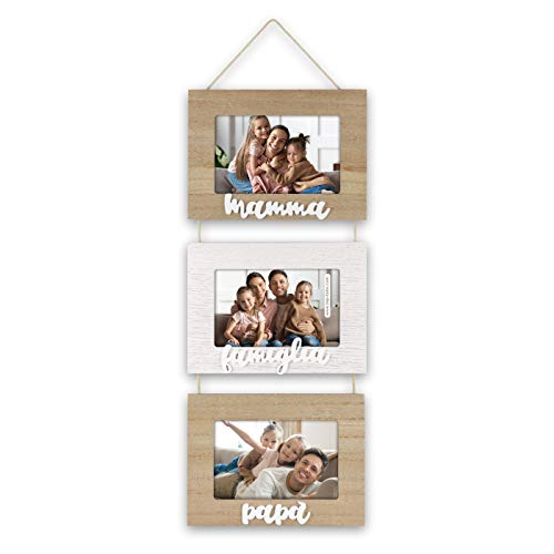 Cornice Famiglia in Legno, Mamma, Papà, Multifoto da Parete con Corda a Vista per 3 foto 10x15, con Scritte a Rilievo.