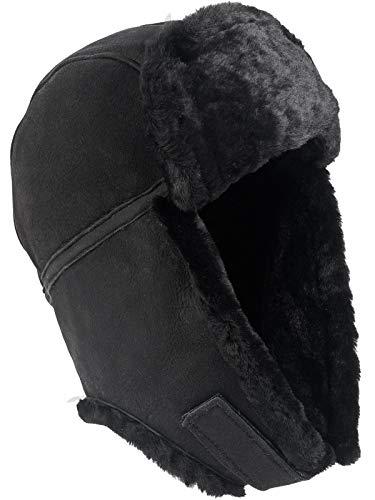Harrys-Collection Pilotmütze aus feinstem Merino Lammfell 3 Farben, Farben:schwarz, Kopfgröße:L