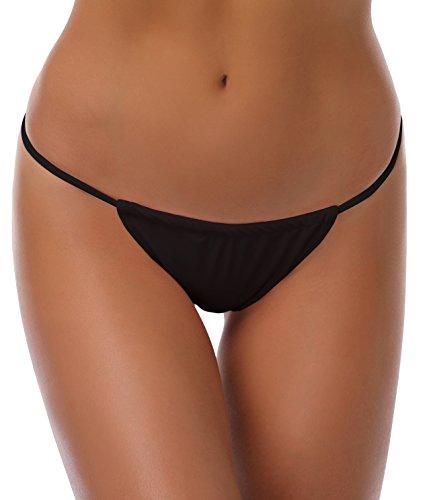 SHEKINI Damen Mini Tanga Bikinihose Micro String Bikinislip Unterhose Beweglich Brazilian Badeslip(Schwarz E,S)