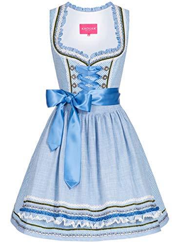 Krüger Dirndl Damen Trachten-Mode Mini Dirndl Sissi in Hellblau traditionell, Größe:40, Farbe:Hellblau